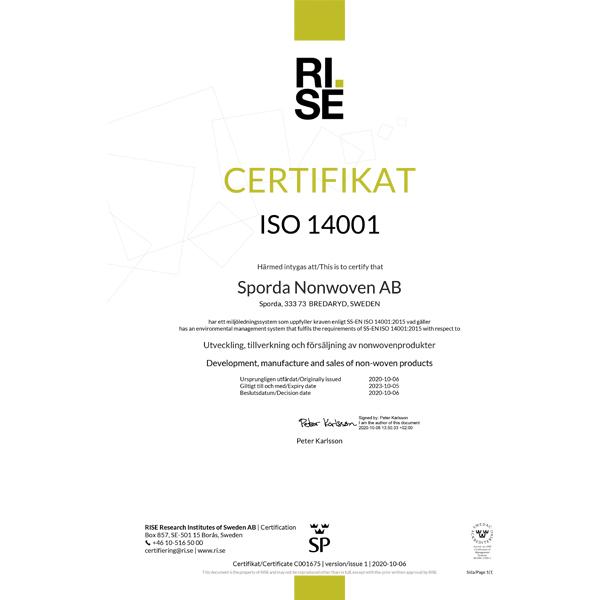 Sporda Nonwoven - ISO 14001