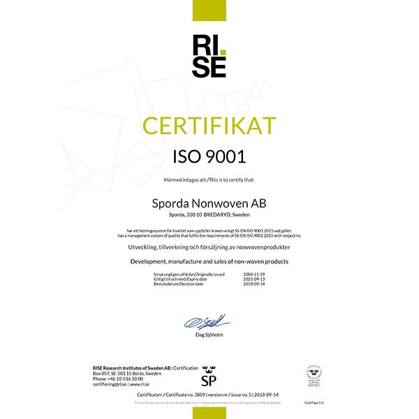 Sporda Nonwoven Certifikat_ISO9001